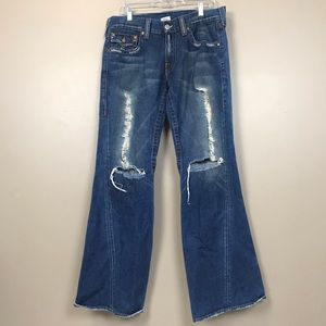 True religion Joey flare distressed jeans 33